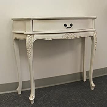 Hand Carved Wood Antique White 1 Drawer Console Table