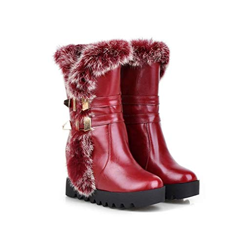 JOYBI Women Pu Leather Mid Calf Boots Round Toe Buckle Height Increasing Warm Winter Platform Snow Boots