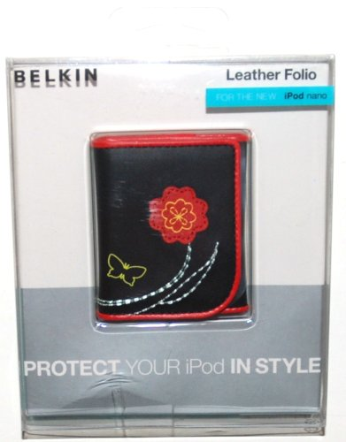 Belkin iPod nano 3rd Generation Video, Leather Folio - Black and Red with Flower.  Fits 4GB / 8GB (1 (Apple Ipod Nano 4 Gb Accessories)