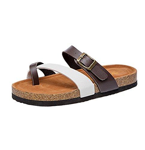 Mujer Planos Unisexo Zapatos de la playa Cómodos Sandalia Zapatos Planos sandalias del dedo del pie del clip marrón Blanco