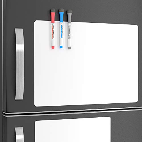 White Sheets Adhesive Magnets Thin Pads - Vinyl Sheets Dry Erase Whiteboard Memo Board Happy Planner Kit - Dry Erase Sticker Writing Board Magnetic List Notepad - Refrigerator Magnet Board for Kids ()