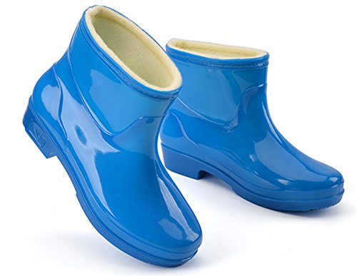 SATUKI Adult Womens Antiskid Short Ankle High Rubber Shoes Rain Boots Blue 9muRlsLn