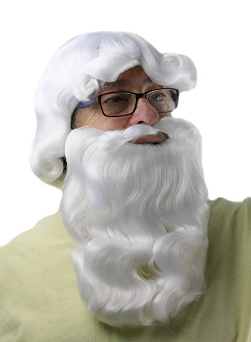 City Costume Wigs Santa Beard and Wig Set | Deluxe Long White Santa Wig and Beard Set, for Adults and Kids ()