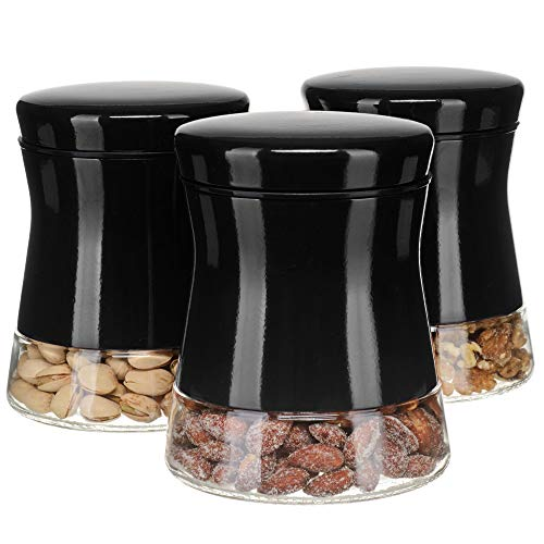 CHEFVANTAGE Glass Kitchen Storage Jar Set for Countertop with Air Tight Container Lid - Black
