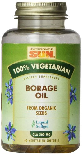 Health From The Sun 100% Vegetarian Borage Oil Softgels, 60-Count