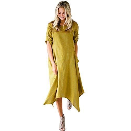 Manga Mujer Corta De Suelto Largo amp;x Camiseta Yellow Qin Vestido qwRtgt