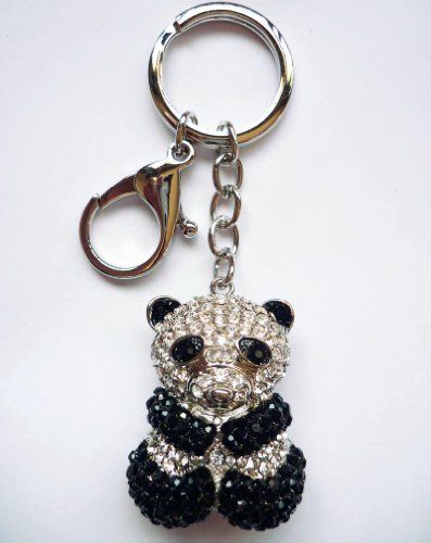 Lilly Rocket Panda Bear Key Chain with Swarovski (Swarovski Crystal Key Ring Keychain)
