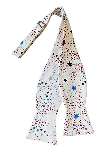 - Men's Self-Tie Bow Tie White with Red, Blue & Silver Metallic Stars