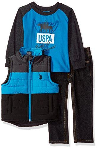 U.S. Polo Assn... - Conjunto de Playera, Chaleco y pantalón para niño, Turquoise, 2 Años