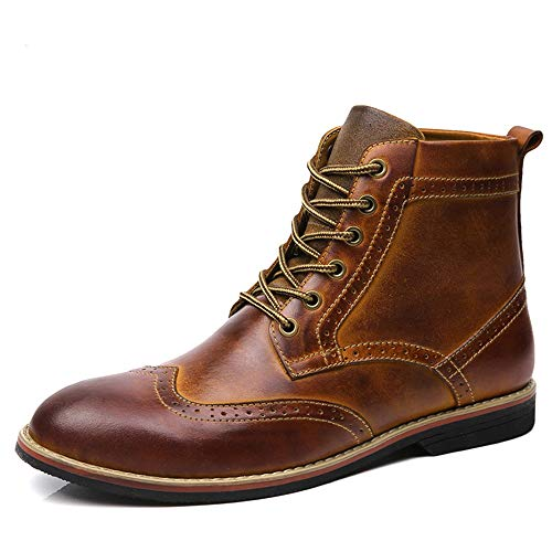 LSGEGO Men's Retro Leather Oxford Boots Lace Up Brogue Casual Moccasins Shoes for Men Dress Ankle Boots Yellow Brown