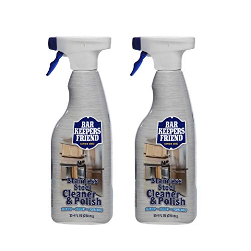 Bar Keepers Friend Stainless Steel Cleaner & Polish (25.4 oz) - Cleans Stainless Steel Refrigerators, Kitchen Sinks, Pots and Pans, Oven Doors, Oven Hoods, and Other Stainless Steel Surfaces (2)