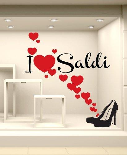Adesivi Murali Vetrofania saldi  quot I love saldi 2 quot  - Misure 100x101  cm - a57b4560d7b