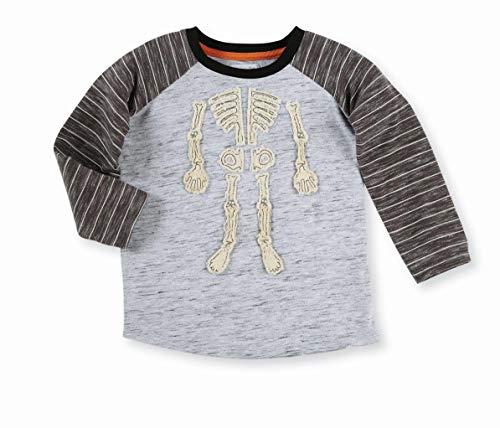 Mud Pie Boys' Little Halloween Skeleton Long Sleeve Baseball T-Shirt, Gray, MD/ 2T-3T]()
