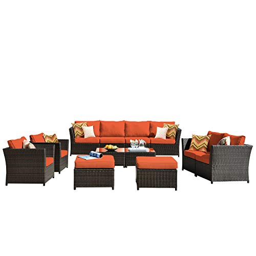 ovios Patio Furniture Set, Backyard Sofa Outdoor Furniture 12 Pcs Sets,PE Rattan Wicker sectional with 2 Pillows and 2 Piece Patio Furniture Cover, No Assembly Required,Brown (12 Piece, Orange red)