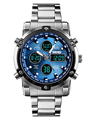(Stainless Steel Strap Outdoor Sport Watch Analog Digital LED Dual Time Display Mens Watch (Silver)