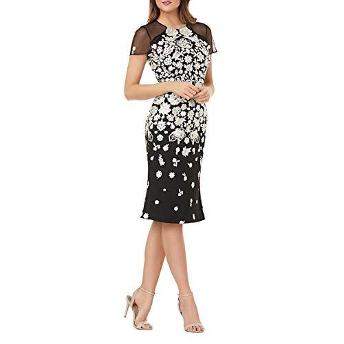 Carmen Marc Valvo Infusion Women's Jewel Neck Novelty Dress, Black/White, 2 (Carmen Marc Valvo Wedding)