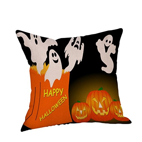 Halloween Pumpkin Pillow Cover,GBSELL Square Cushion Pillow Case Zipper Closure Cover (#I) (Square One Halloween)