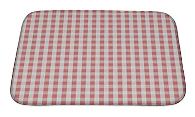 Gear New Pink Plaid Pattern Bath Rug Mat No Slip Microfiber Memory Foam