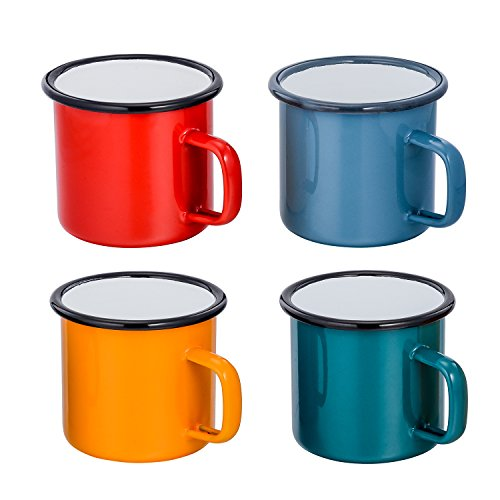 TeamFar 12 Ounce Ceramic Coating Coffee Tea Juice Cups, Enamel Camping Beverage Mugs, Bright Color & Classic Look, Set of 4, Hand-wash Recommendation