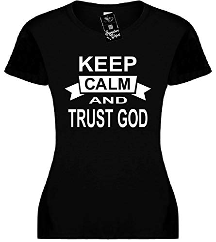 Signature Depot Junior's Size M T-Shirt (Keep Calm and Trust GOD (Faith & GOD) Fitted Girls ()