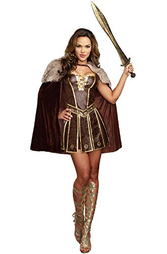 Dreamgirl Women's Victorious Beauty Warrior Costume, Brown, Small