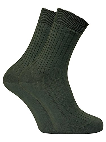 2 Pack Mens 100% Cotton Lightweight Ribbed Hiking Boot Socks for Summer (13-15 US, DHB) from Dr Dry