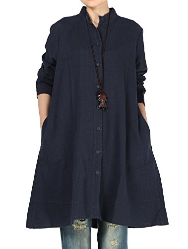 Mordenmiss Women's Cotton Linen Full Front Buttons Jacket Outfit with Pockets Style 1 XL Navy