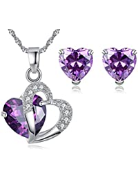 Valentine's Day Jewellry Set- 5.2 Ct Created Simulated Gemstone Ruby Amethyst Diamond Rose White Gold Silver Earrings Necklace Earrings Set -Great Birthday Anniversary Mothers Day Wedding Gift