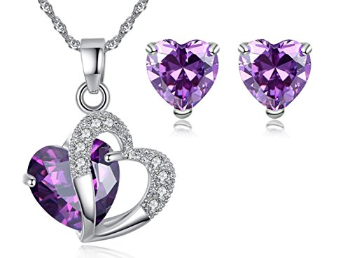 "(5.2 Ct. Created Amethyst with Rhinestones Heart Silver Jewelry Set ""Forever Love"" Crystal Earrings Pendant Necklace- Great Christmas Birthday Anniversary Mothers Day Valentines Gifts for Mom Wife)"