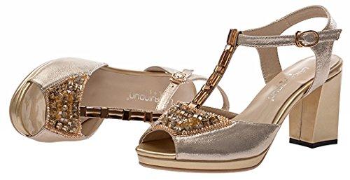 T&Mates Women's Cool Peep-toe Rough Heels Fashion Crystal Pumps(7.5 B(W) US, golden)