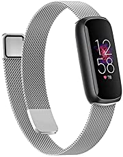 Wongeto Band Compatible with Fitbit Luxe,Adjustable Stainless Steel Loop Mesh Magnetic Strap Replacement Wristbands Bracelet for Fitbit Luxe Fitness and Wellness Tracker for Women Men (Silver)