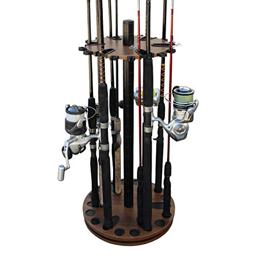 (Rush Creek Creations 24 Round Spinning Fishing Rod/Pole Storage Floor Rack Dark Walnut Finish - Features Heavy Duty Steel Post - No Tool Assembly)