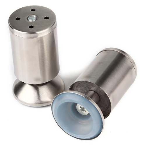 Furniture Leg,Ideaker 4pcs Stainless Steel Round Leg Protect Stand for Cabinet Table Shelf 2x4inch