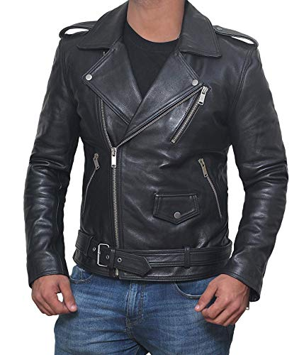 Motorcycle Leather Jacket Mens - Biker Jackets for Men (Black - Belted Rider, 2XL)