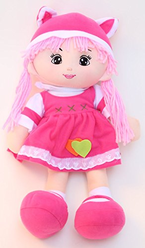 """16"""" Adorable Pigtail Plush Doll (Ragdoll) with Pink Double Sided Tied Yarn Hair, Removable Clothes, Pink Large Tied Shoes, & Pink/White Eared Hat (Pink & White Laced Dress, & Bunny / Kitten Ear Hat)"""