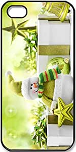 iPhone 5/5s Case Snowman-Toy-Green-Style-Christmas-And-New-Year-Gifts Case for iPhone 5/5s with Black Side