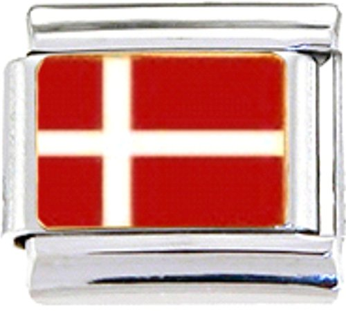 DENMARK DANISH FLAG Enamel Italian Charm 9mm - 1 x PE041 Single Bracelet - Traditional Italian Charm