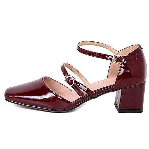 Nine Seven Cuero Moda Puntera Cuadrada Zapatos de Tacón Grueso con Hebilla para Mujer vino rojo