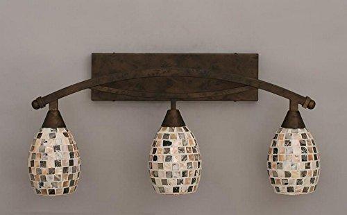 Toltec Lighting 173-BRZ-408 Bow - Three Light Bath Bar, Bronze Finish with Sea Haze Seashell (408 Bow)