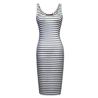 Miusol Celebrity Black stripe Slim Fit Pencil Casual Dress,Vest Dress,X-Large/US Size 12/14
