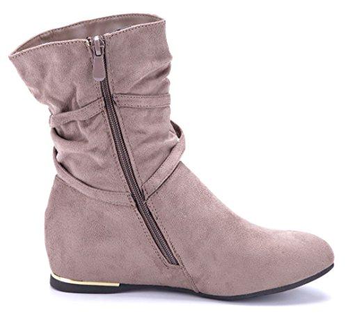 Schuhtempel24 Damen Schuhe Keilstiefeletten Stiefel Stiefeletten Boots Keilabsatz 4 cm Khaki