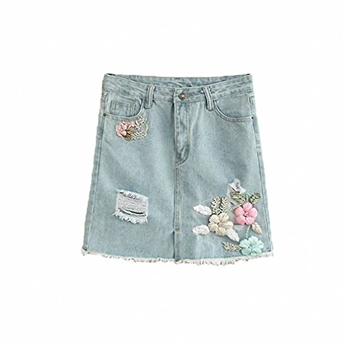 Flower Embroidered Denim Skirts Womens NEW Summer A-Line Short Mini Skirt Female Mid Waist Holes Ripped Jeans Skirt Light Blue M