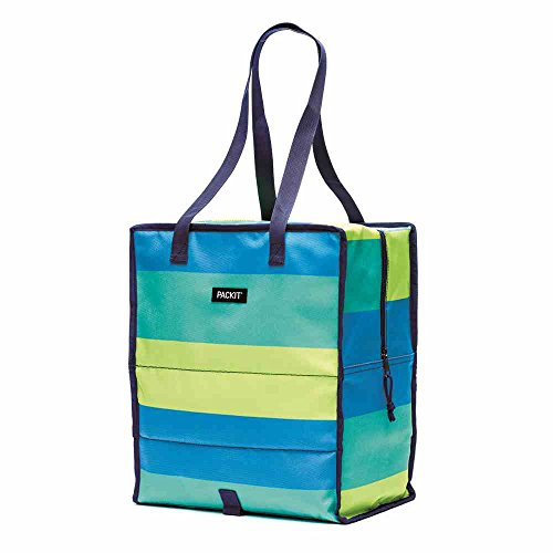 - PackIt Freezable Grocery Shopping Bag with Zip Closure, Fresh Stripe