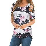 CUCUHAM Women Printed Crop Top Short Sleeve Tank Top T-Shirt Blouse(Z2-Withe,M)