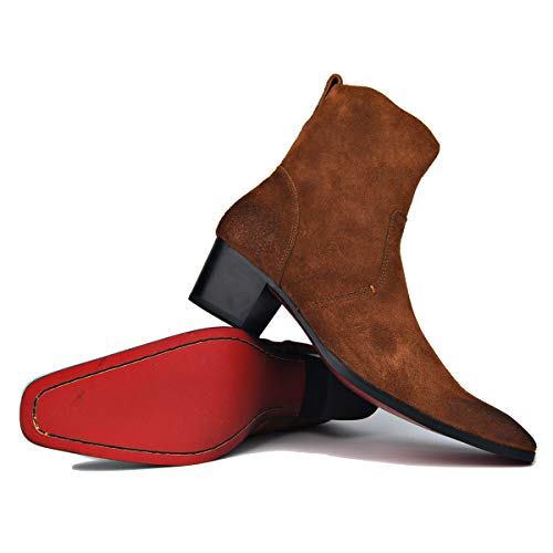 OTTO ZONE Dress Boot for Men Leather Chukka Designer Boots Casual Heel Shoes Zipper-up JY002 Brown Suede 10
