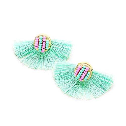 Uniklook Sassy & Fun Blogger Color POP Fringe Tassel Stud Beaded Statement Earrings (Mint Green)