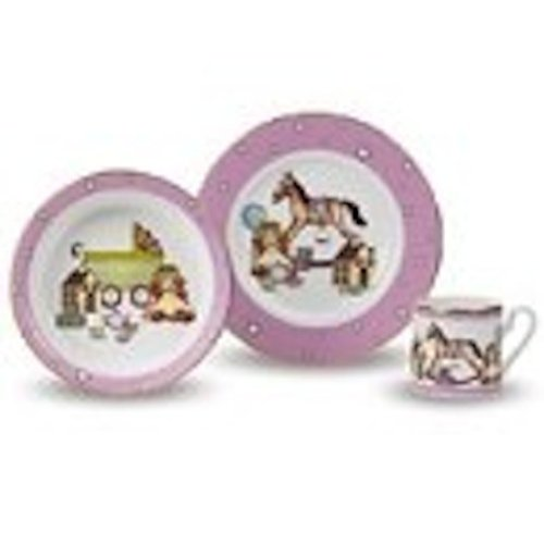 Halcyon Days - Children's 3-Piece Dishes Gift Set - Girls Pink by Halcyon Days