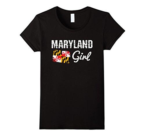 Womens Maryland Flag Shirts Maryland Girl T Shirt Xl Black