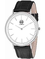 AIBI Mens AB02401-4 Analog Quartz Black Leather Casual Dress Waterproof Watches