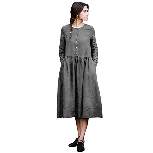 Woman Dress Loose Dress Boho A-Lin Tunic Lâce Long Sleeve Collar O Casual Maxi Dress -